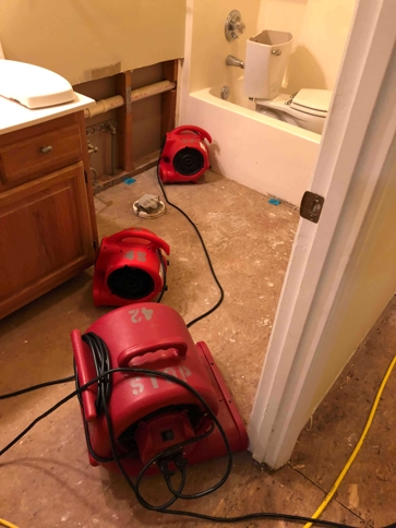 Water damage to bathroom floor