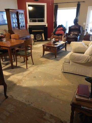 Water damage in living room
