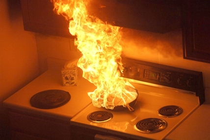 stove on fire
