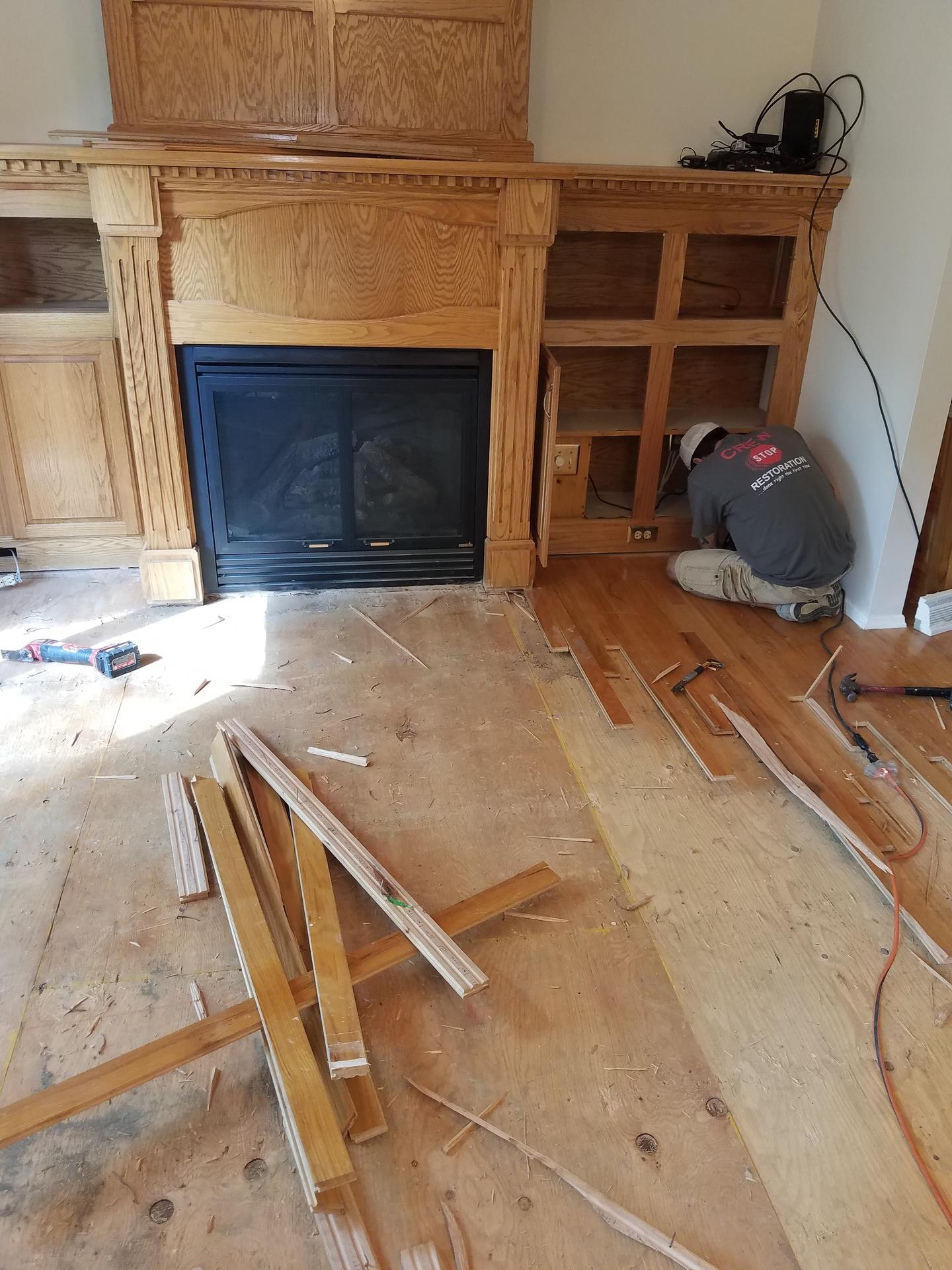 Floor boards being stripped