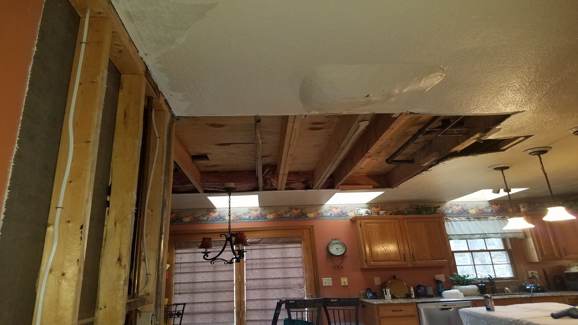 Ceiling being repaired